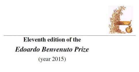 Eleventh edition of the Edoardo Benvenuto Prize 2015